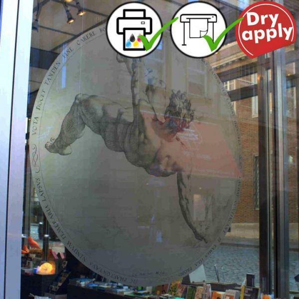 ASLAN DFL 302 PrintSilverEtched Dryapply Fensterfolie auf Schaufenster