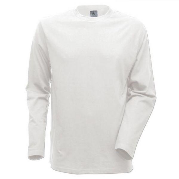 B&C Langarm-Shirt Weiß