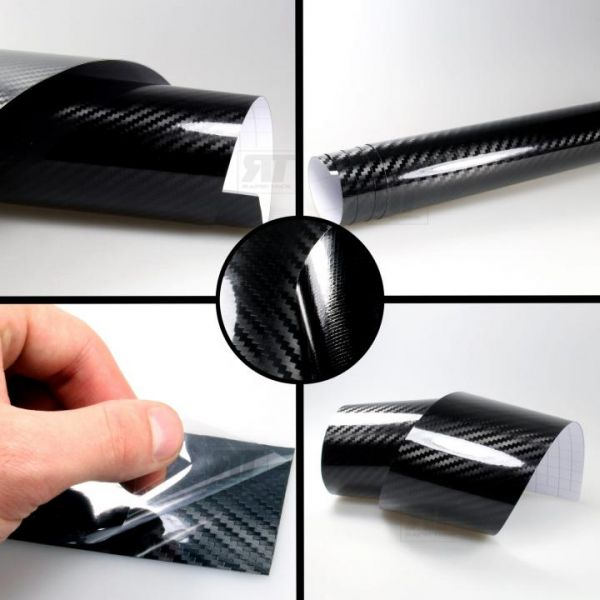 Rapid Teck® 5D Carbon Autofolie Schwarz Hochglanz